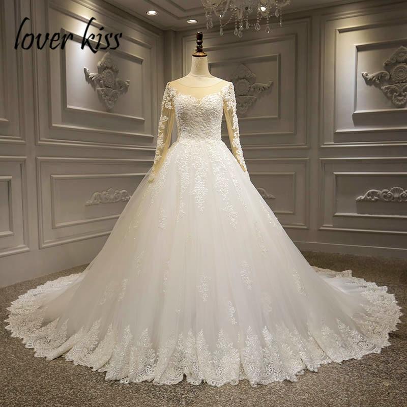 Lover Kiss-فستان زفاف طويل مطرز بالدانتيل ، فستان زفاف فاخر ، أكمام طويلة ، مجموعة 2021