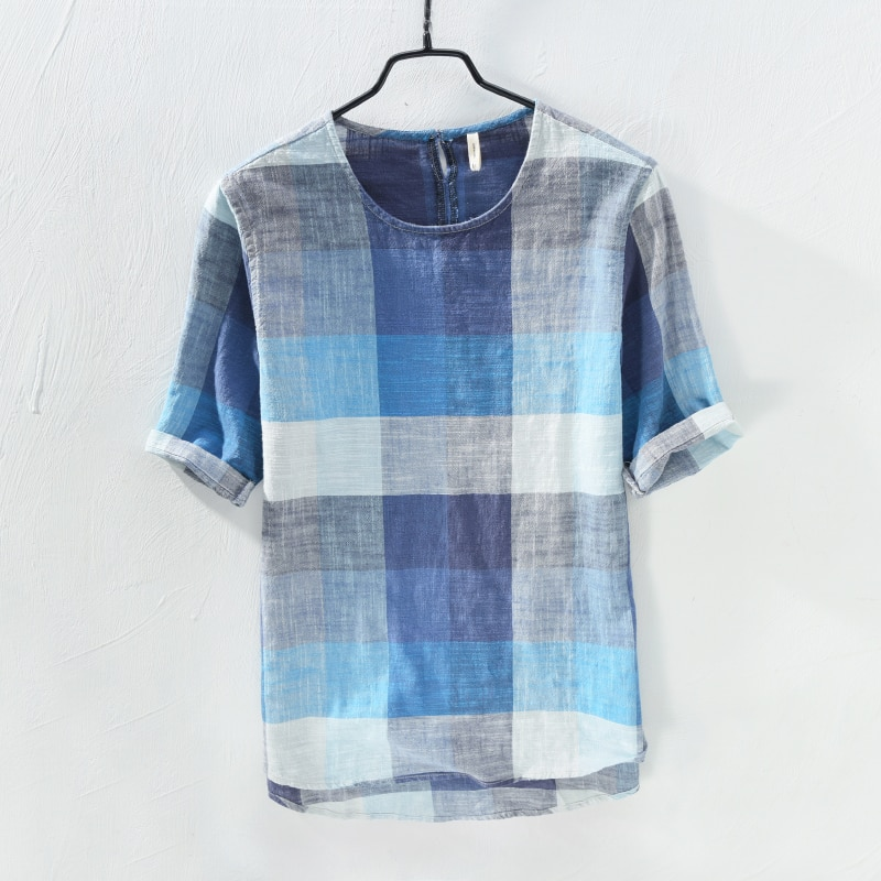 قميص رجالي منقوش من القطن والكتان ، قميص فضفاض عصري ريترو ، قميص كتان بأكمام قصيرة ، صيف 2018