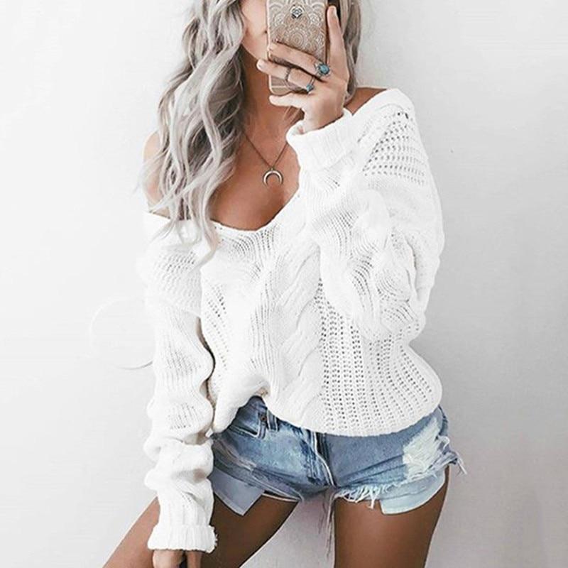 Danjeaner S-5XL de talla grande Sexy Deep cuello pico punto trenzado suéteres mujeres de hombro sólido jerseys 2018 Otoño Invierno Caliente Top