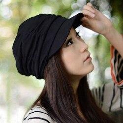 2019 quente coreano sólido chapéu feminino outono inverno malha chapéu plissado newsboy boné quente ao ar livre viseira crânio marrom algodão casual
