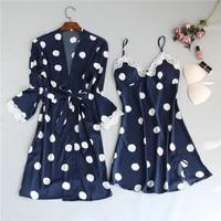sexy women polka dot robe gown set sleep dressbathrobe two piece sleepwear women faux silk night dress robe suit