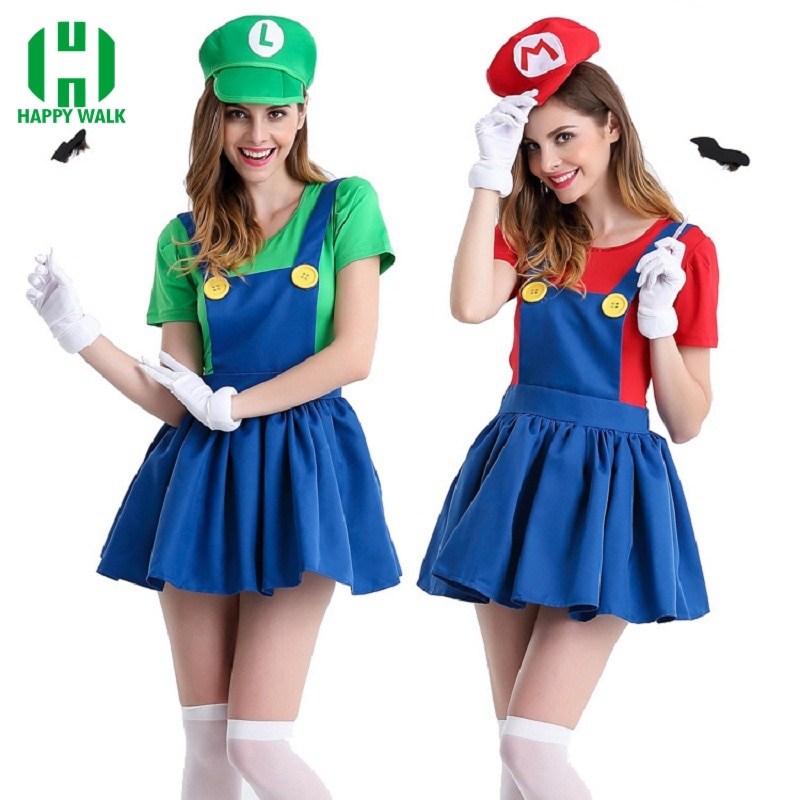 Halloween Super Mario Costume Women Luigi Costume Clothing Sexy Plumber Costume Super Mario Bros Fantasia Costumes For Adults