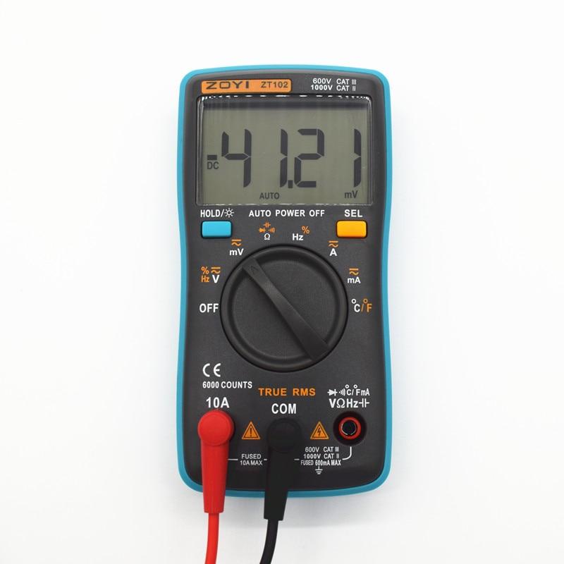 ZT101 ZT102 ZT102A Цифровой мультиметр DC AC Напряжение Ток сопротивление диода Емкость тестер температуры Цифровой мультиметр