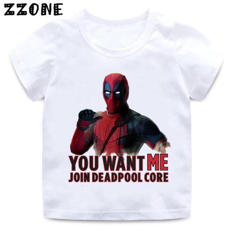 Camiseta divertida de Anime estampado de Deadpool para niños, de manga corta Camiseta blanca de verano para niñas y niños, ropa informal fresca para bebés, ooo314