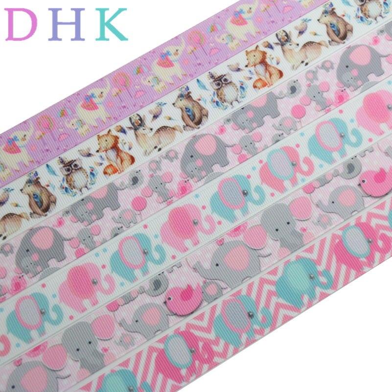 DHK 50 jardów fox zwierząt słoń drukowane ryps wstążka akcesoria hairbow nakrycia głowy dekoracji hurtownia OEM S973