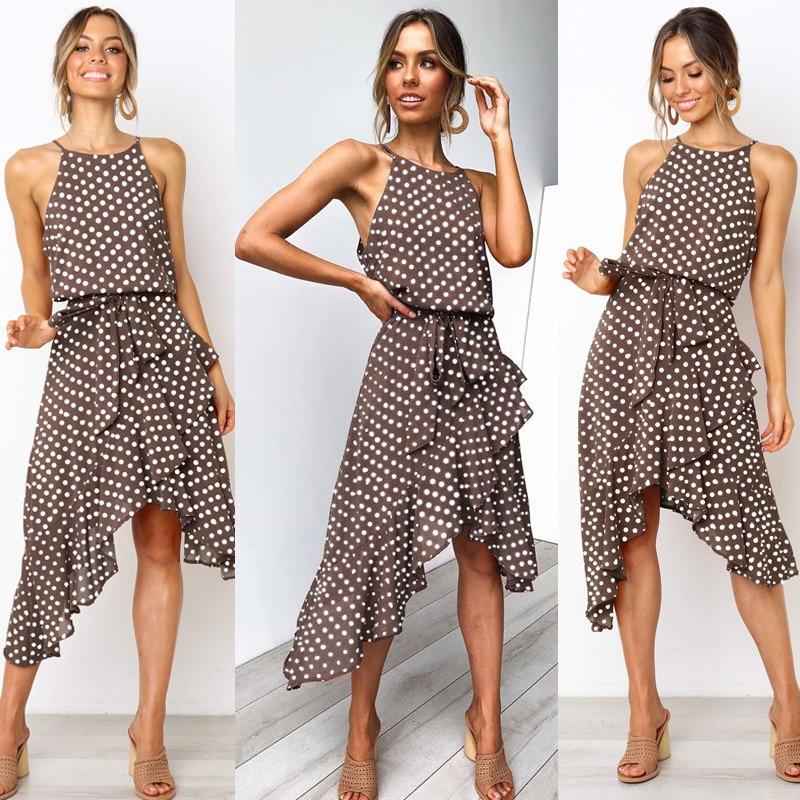 Sommer Oansatz Spaghetti Strap damen Kleid Lässige Ärmel Dot Sprint Strand Maxi Kleider Tunika Bogen Gürtel Unregelmäßigen Party Kleid