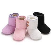 Chaussons dhiver pour bébés filles garçons   Chaussures en fourrure de berceau de laine, chaussons chauds pour nouveau-né, bottes de neige en tricot en Crochet, semelle souple, sapatos de bébé