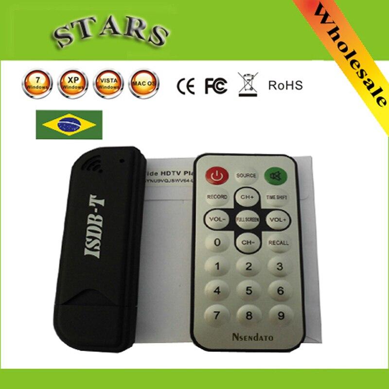 Mini Digital ISDB-T USB2.0 TV HDTV sintonizador Stick receptor con Control Remoto + antena para Brasil venta al por mayor envío gratis