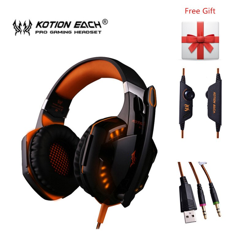 KOTION EACH G2000 Gaming Headset Stereo Hifi Game Headphones with Mic LED Light Gamer Earphone for PC Computer Gamer PS4 XBOX