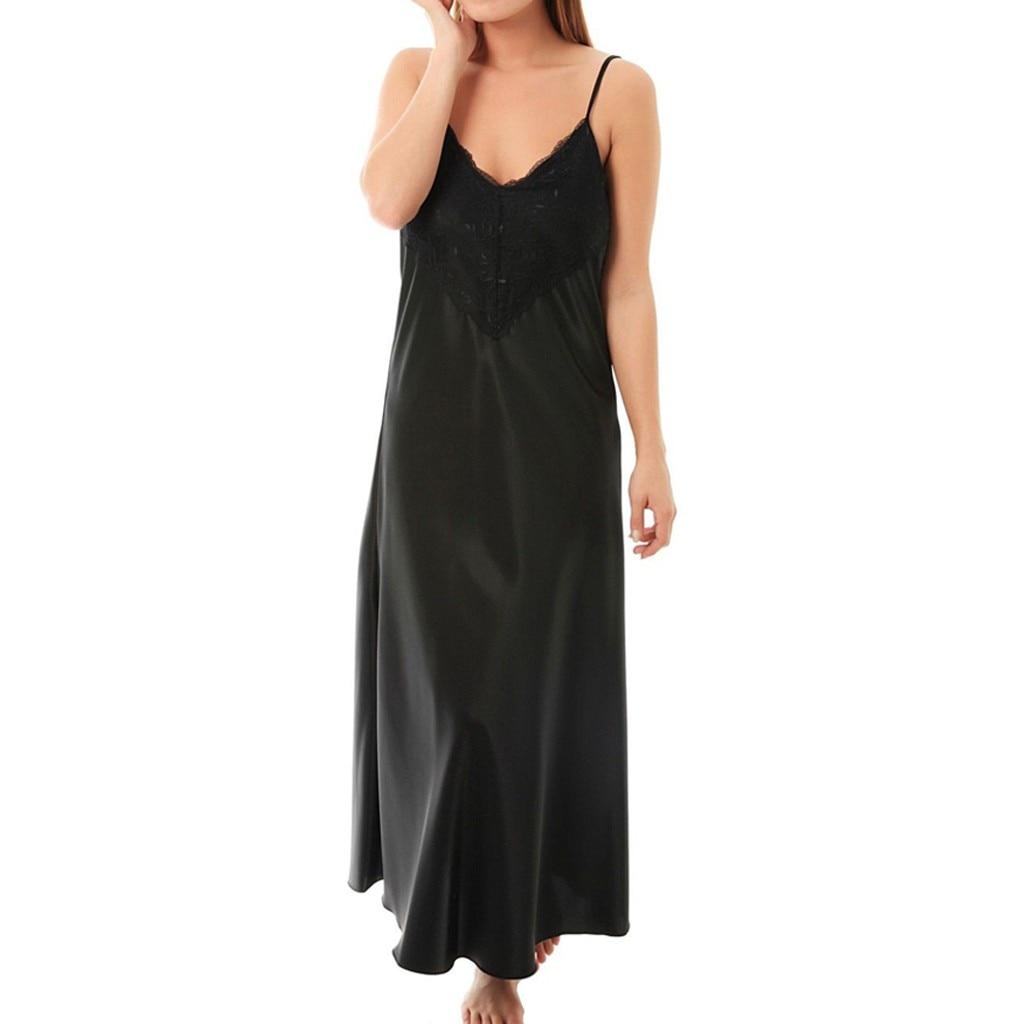 Moda Sexy mujer camisón largo satén encaje camisón de lencería Casual señoras camisón de dormir Deep Lace detalle frontal ropa
