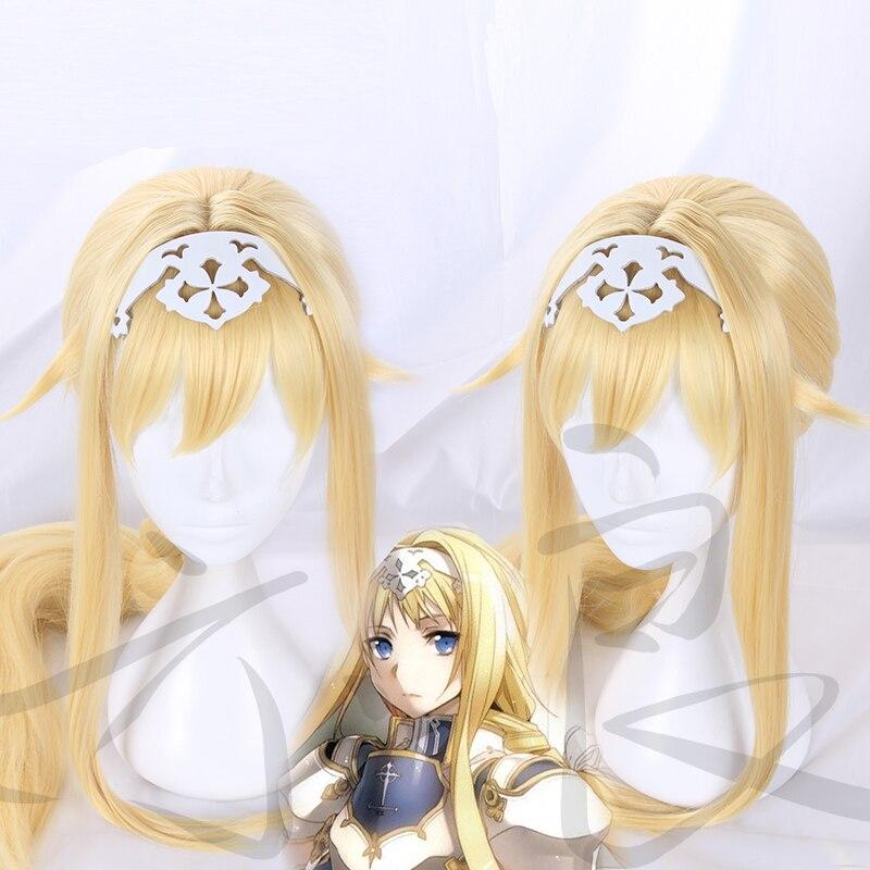 Меч искусство онлайн косплей парик Алиса синтез тридцать блонд длинные косы взрослые синтетические волосы