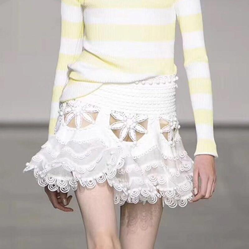 Nice Runway Skirts WomenTutu Mini Skirt Hollow Out Elastic High Waist Draped Skirts Female Summer Fashion Sexy Clothing Lady