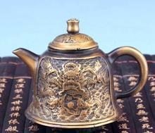 Théière en cuivre rouge rare de lancienne dynastie Ming   Meilleure sculpture, pot en Bronze avec marque, livraison gratuite