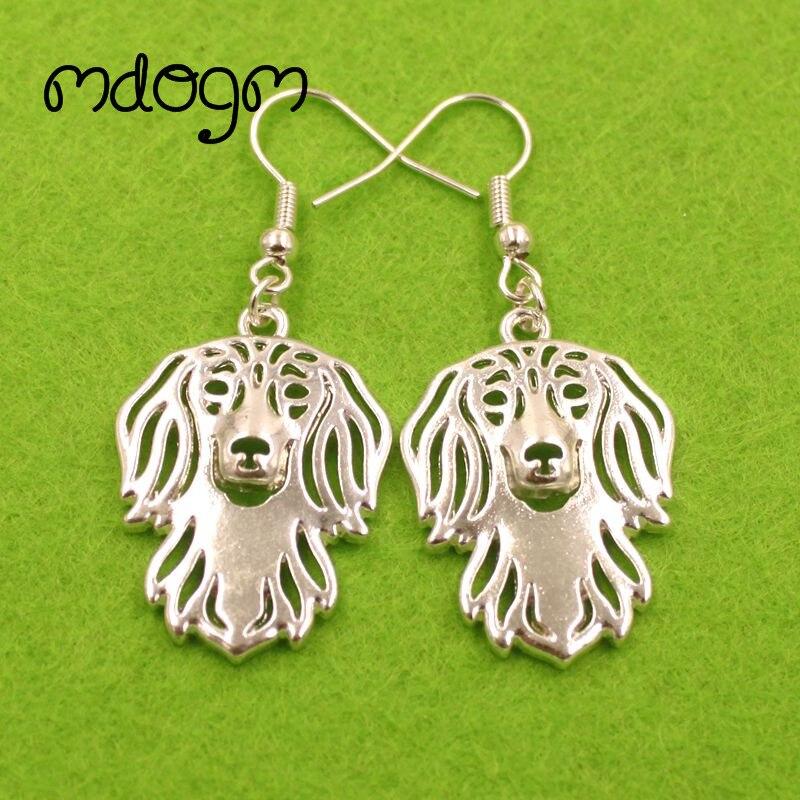 2020 lindo perro Dachshund Animal colgante gota pendientes oro plateado-placa Verano Divertido Metal para mujeres chicas mujeres señoras E045