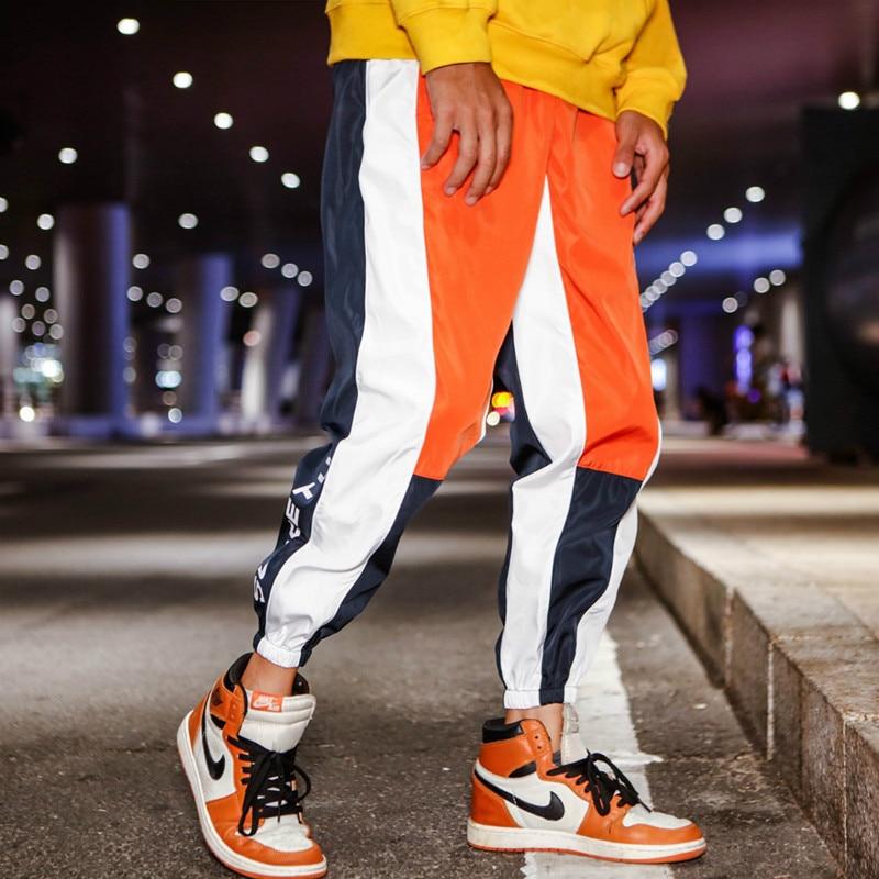 Мужские брюки в стиле хип-хоп с цветными вставками, повседневные брюки для бега, мужские ветровки, спортивные штаны высокого качества