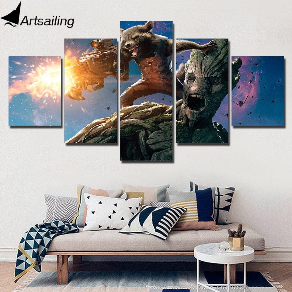 5 stuk canvas wall art HD posters en prints canvas battle wasbeer galaxy rocket Anime posters home decor gratis verzending XA2307B