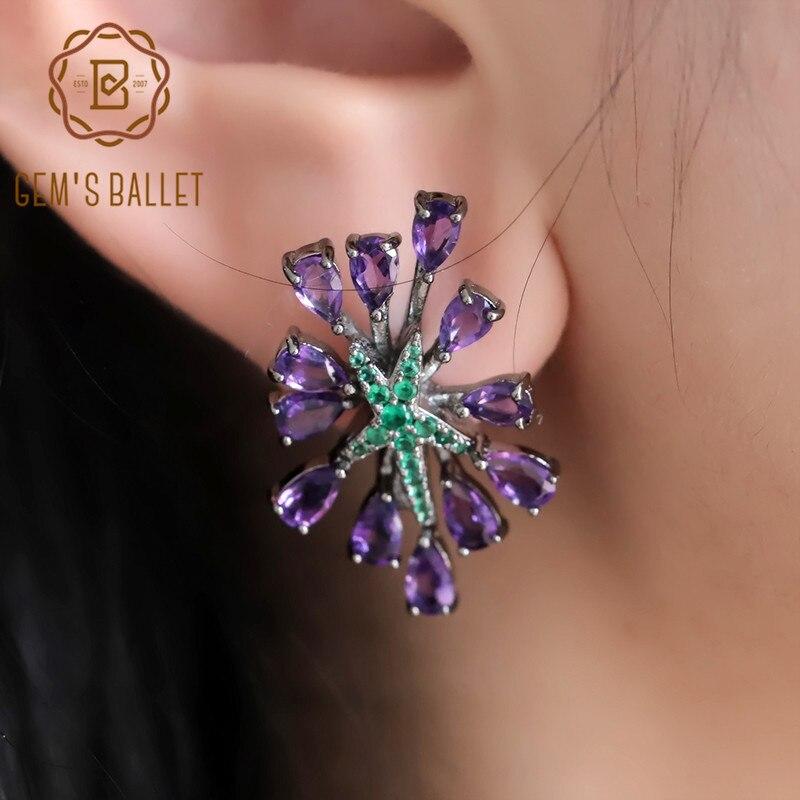 Ballet 100% 925 sterling sliver gótico roxo clipe brincos 4.69ct ametista natural brincos de pedra preciosa para festa feminina fina