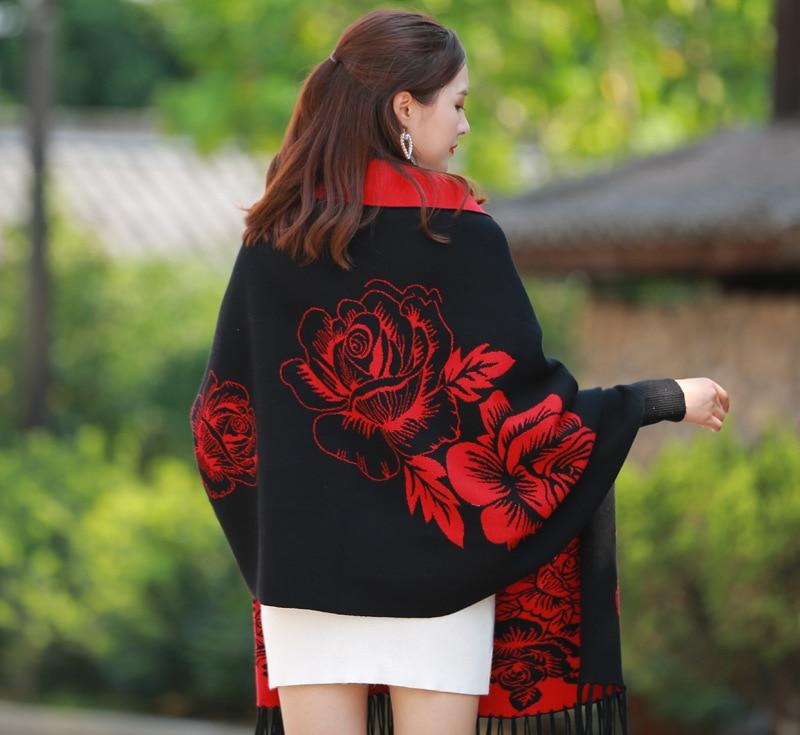 Bufanda de invierno de marca para mujer, lana negra y roja con manga, abrigo de Cachemira, capa gruesa de doble cara, chal de doble propósito de aire