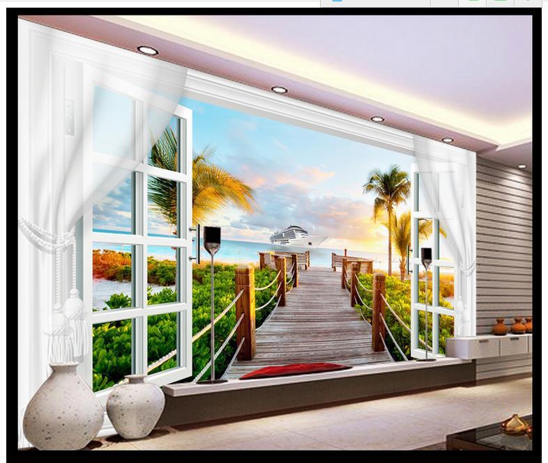 Papel pintado de foto 3d personalizado murales 3d papel pintado sala de estar 3 d paisaje Coco Palma TV ajuste pared ventana cortina pared decoración