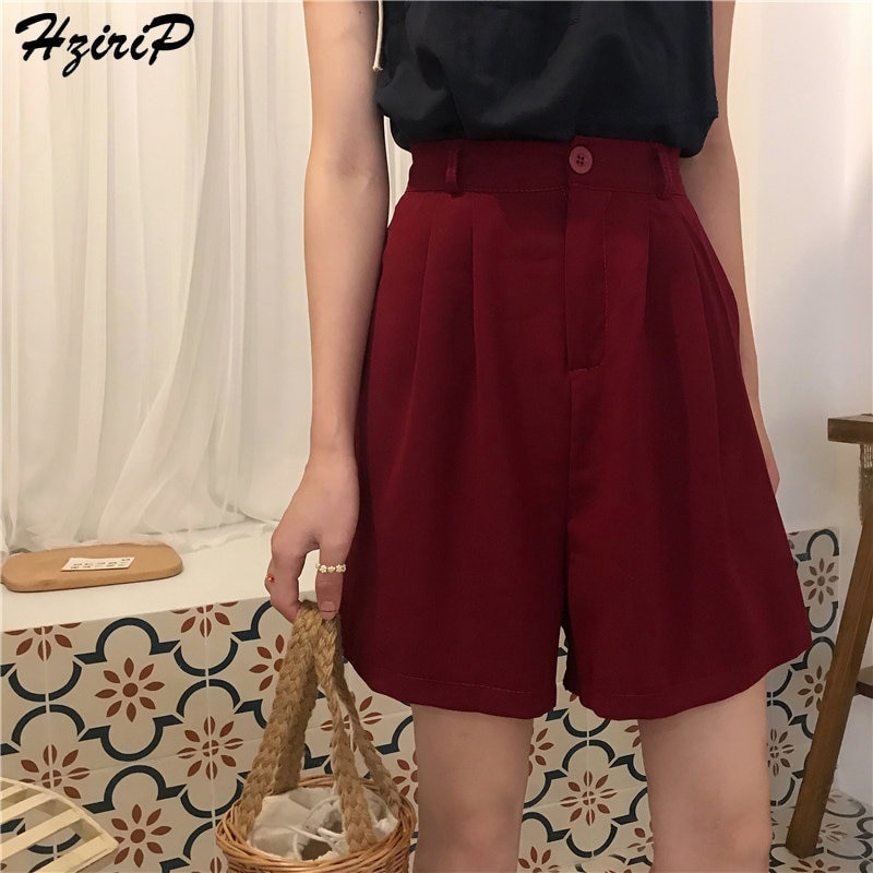 HziriP 2019 Corea Chic Shorts verano femenino recto corto Casual mujeres Bottoms sólido Oficina señora alta cintura moda femenina