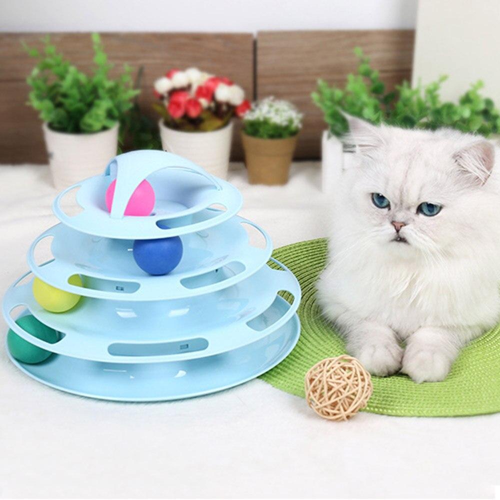 Juguetes para mascotas para gato Favor disco de pelota de juguete interactivo 4 niveles de diversión mascota IQ entrenamiento juguete para gato gatito juguete divertido para gato mascota