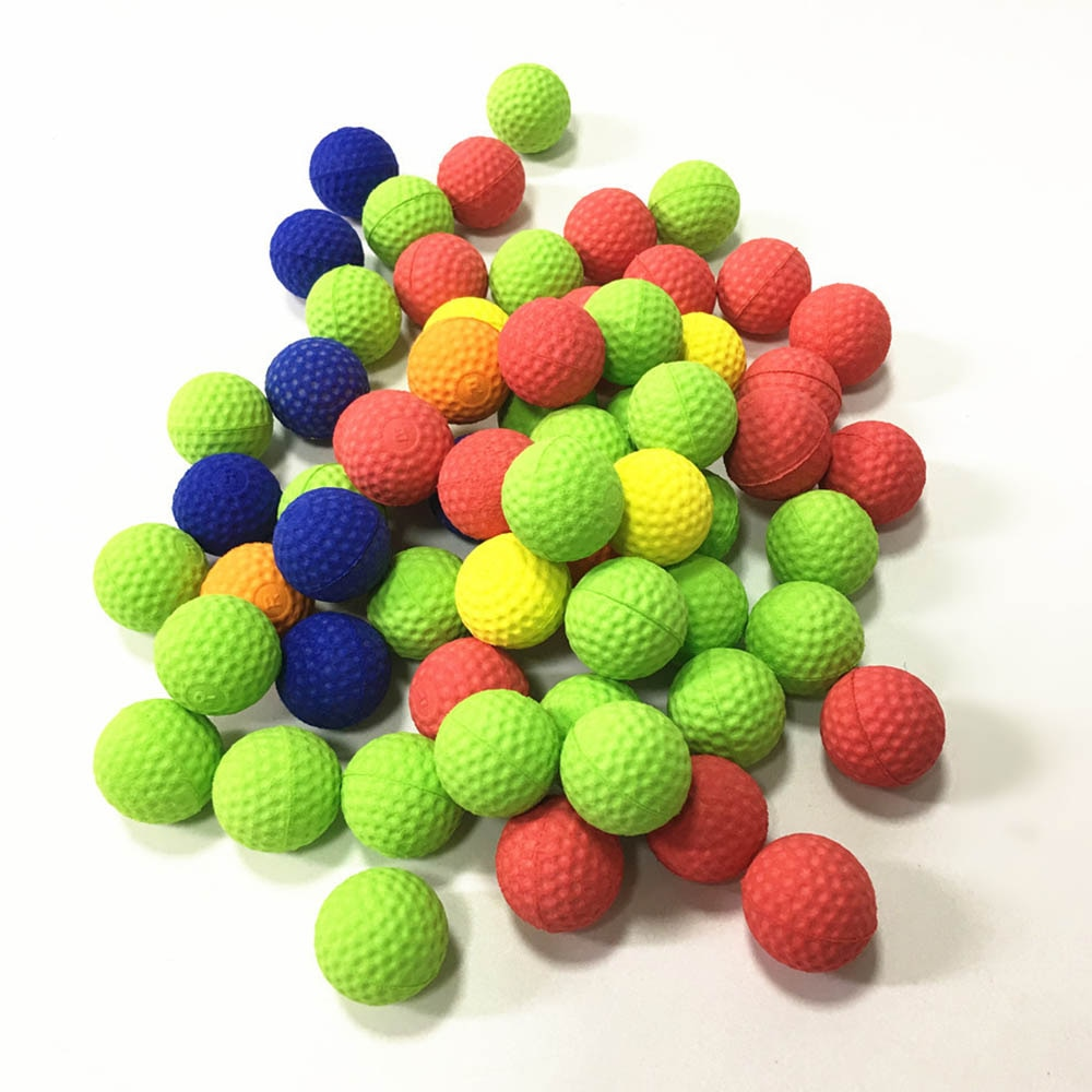 100 pces 2.2cm bolas coloridas golfe eva espuma bolas de bala macia para nerf rival zeus apollo recarga brinquedos