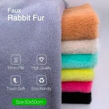 Tissu en fourrure de Faux lapin 50x50cm   1 pièce, 100% Polyester 10mm, tissu en peluche Super doux, pour jouets en peluche faits à la main, tissu à coudre