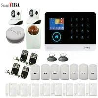 SmartYIBA Wifi systeme dalarme bidirectionnel Audio intelligent GSM alarme securite a la maison alarme antivol SMS SIM applications moniteur a distance 2 cameras IP