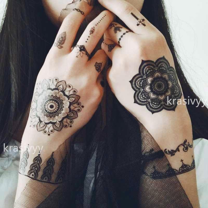 Krasivyy tatuajes temporales pegatinas nueva moda negro encaje Joyería Árabe India estilo vacaciones fiesta pasta maquillaje tatuajes para chicas