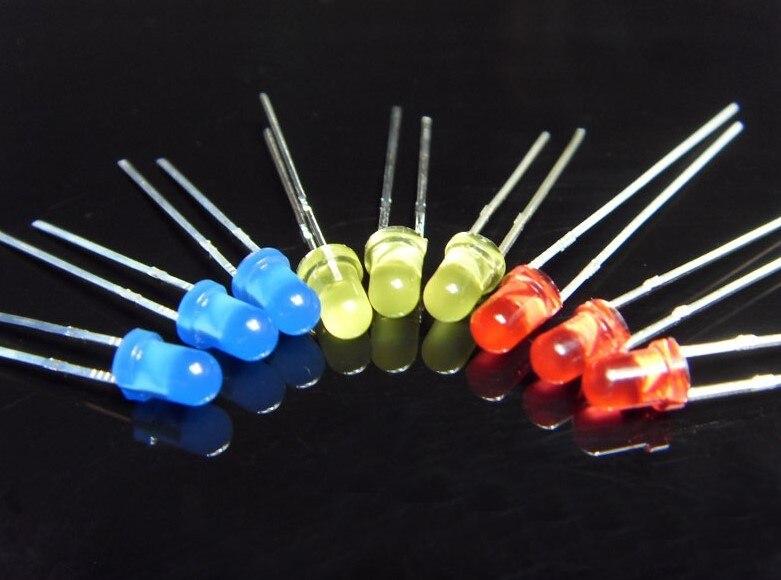 1000 unids/bolsa fabricantes suministro tira led 3MM luz indicadora cuentas 5MM rojo verde amarillo al por mayor cree XML diodos emisores