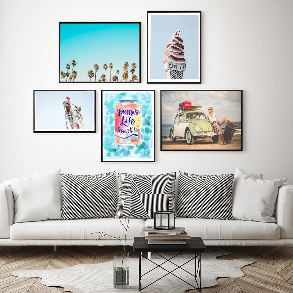 Gohipang desierto Camel nórdico viaje pintura Cola chica carteles y impresiones playa cartel lienzo arte helado pared pintura Palma