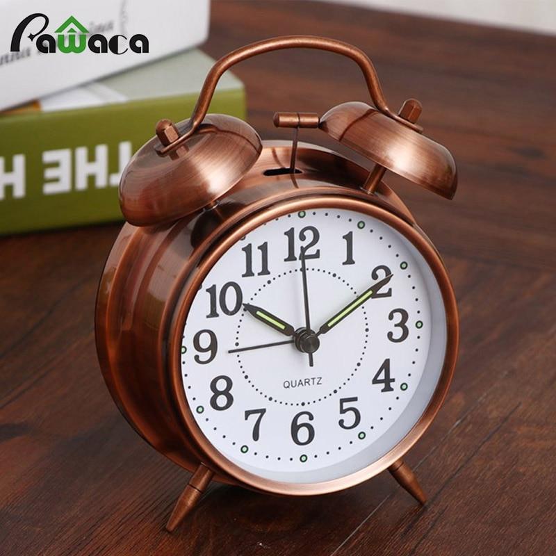 Creativa Retro reloj despertador alarma de doble campana reloj con estereoscópica Dial retroiluminación Reloj de escritorio fuerte alarma reloj regalo