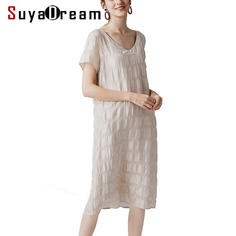Vestidos de manga corta WomenDress 50% de seda Real 50% de lino para mujer con cuello de pico, vestido medio de verano 2019, vestido largo hasta la pantorrilla Beige