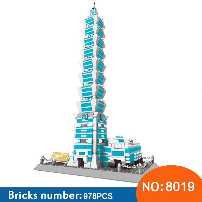 Wange 8019 nowa sława architektura seria Taipei 101 3D Model zestawy klocków budowlanych klasyczne zabawki dla dzieci