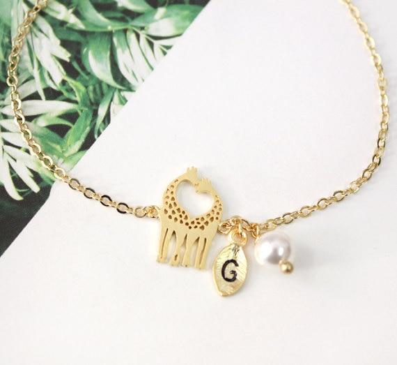 Qiming amor girafa pulseira pulseiras charme inicial pulseiras pulseiras amoroso girafa pulseiras ani