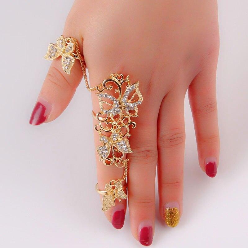 Neue Vintage Frauen Volle Knuckle Ring Strass Dekor Schmetterling Verbunden Ringe 3D2011