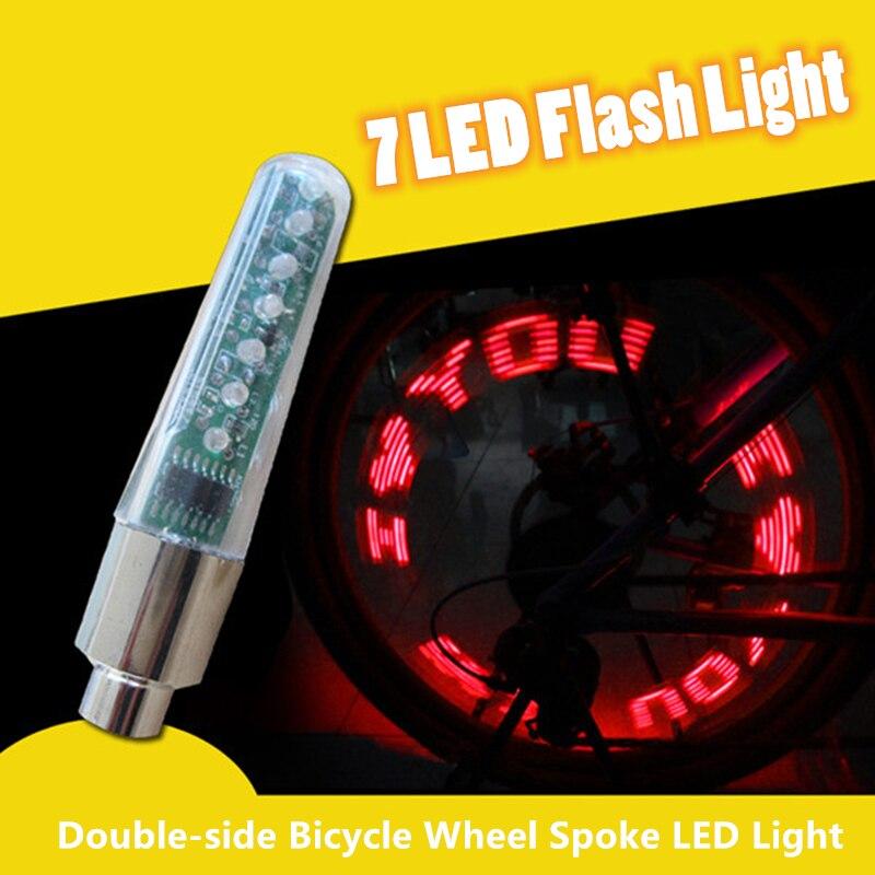 Велосипедное Колесо спицы Светодиодная лампа цикл шина для колеса клапан 7 светодиодная вспышка с супер ярким велосипедным буквенным светодиодом Прямая поставка
