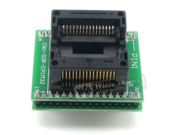 SO32 SOIC32 SOP32 إلى DIP32 (B) OTS-32-1.27-16 محول Enplas IC اختبار المقبس 1.27 مللي متر الملعب 11.25 مللي متر عرض