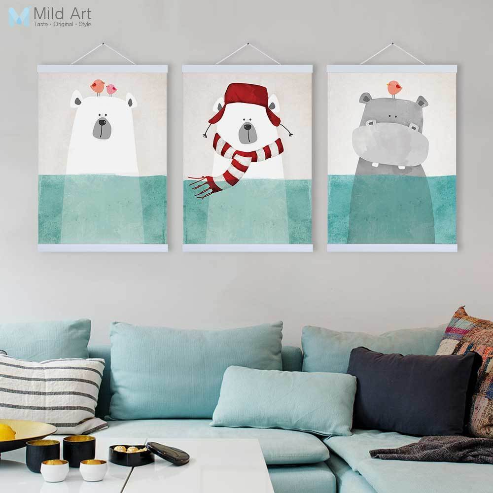 Moderno Kawaii Animal Friend oso hipopótamo de madera enmarcada lienzo pintura niños habitación decoración nórdico arte de pared imprimir imagen cartel Scroll