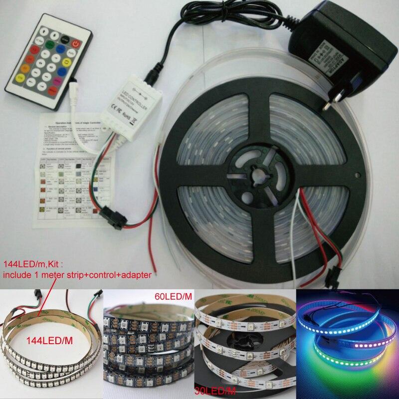 Tira LED de 5V píxeles color de sueño color mágico WS2812B 5050 RGB tira LED 30 60 72 144 Led/m direccionable Individual + control + adaptador