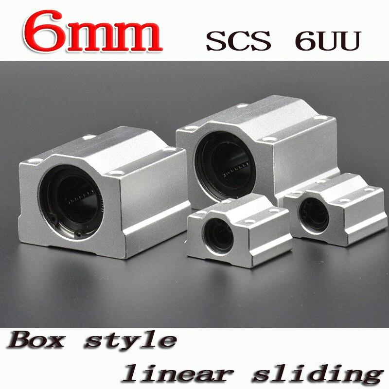 2 unids/lote SC6UU SCS6UU 6mm bloque de rodamiento lineal de bolas con arbusto LM6UU, unidad lineal de bloque de almohada para pieza CNC de eje lineal de 6mm
