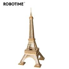 Robotime bricolage 3D paires en bois tour Puzzle jeu cadeau et ornement pour enfants enfant ami modèle Kits de construction jouet populaire TG501