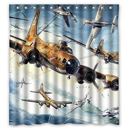 Cortinas de ducha de baño Flying Fire Plane 180x180cm Cortina de ducha de tela impermeable respetuosa con el medio ambiente