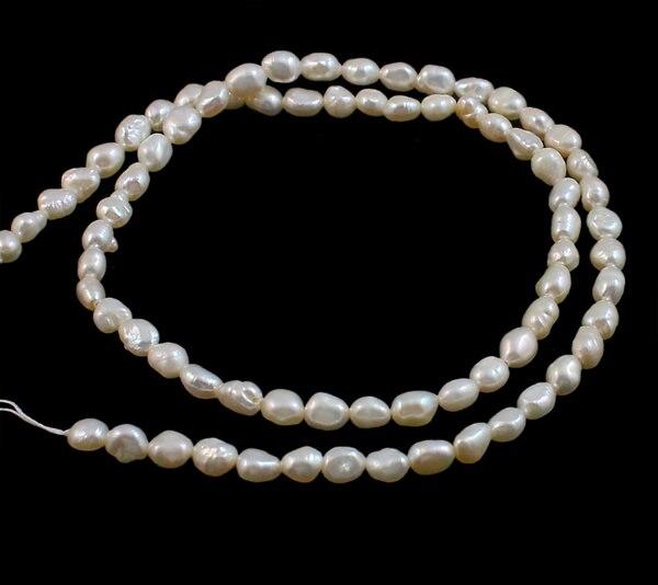 YYW naturel blanc AA Grade réel Baroque perles deau douce de culture perles femmes bricolage perles en vrac bijoux 5-6mm 15