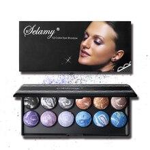Palette de maquillage fard à paupières au four de marque 12 couleurs longue durée poudre lisse velours mat ombre à paupières pressé poudre avec miroir