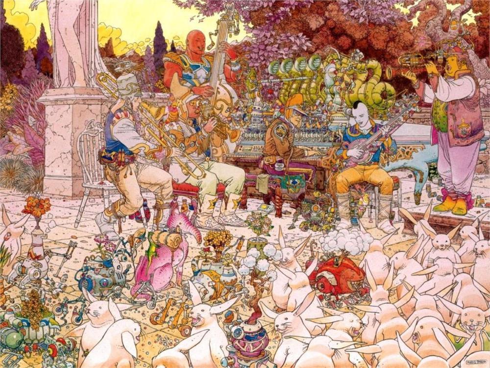 Jean Giraud de Moebius animais coelhos música músico Cartaz Home da Decoração da Lona