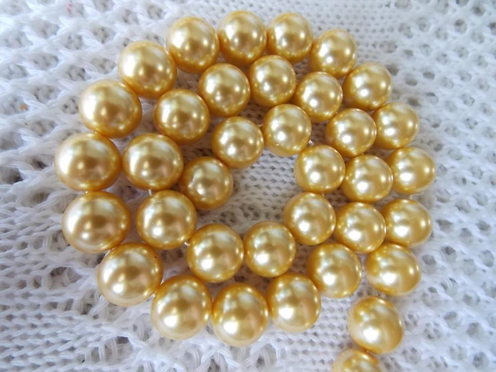 Nuevo para collar y pulsera 12mm Concha amarilla Sur perlas de mar sueltas DIY regalos para mujeres chica diseño de fabricación de joyas de 16 pulgadas