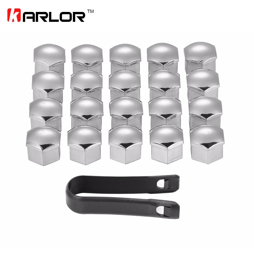 20Pcs/lot Wheel Lug Bolt Center Nut Covers Caps 321601173A for Audi A4 Q5 Golf Skoda SEAT with 17mm Hexagon Bolt