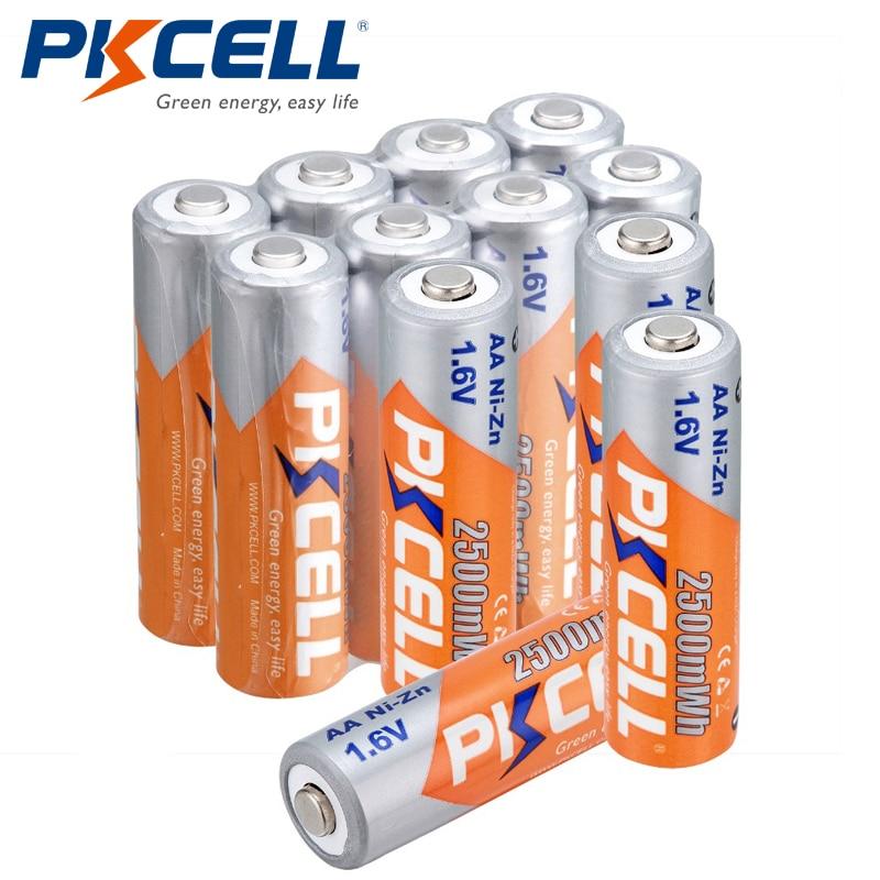 PKCELL 12 قطعة/الوحدة AA قابلة للشحن البطارية NIZN AA 2500mWh النيكل والزنك 1.6V AA بطاريات للكاميرات اللعب