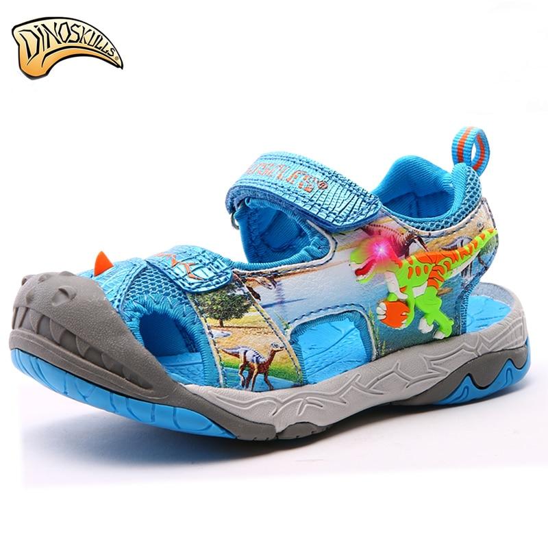 Dinoskulls-صنادل صيفية للأطفال ، أحذية شاطئ Led ، مغلقة من الأمام ، نمط المصارع ، مقاس 27-34